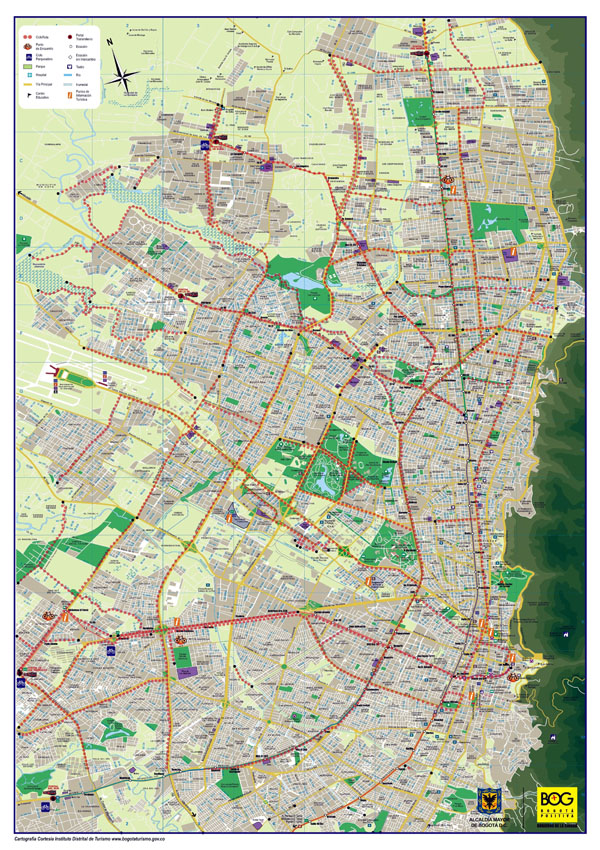 Large roads and tourist map of Bogota city.