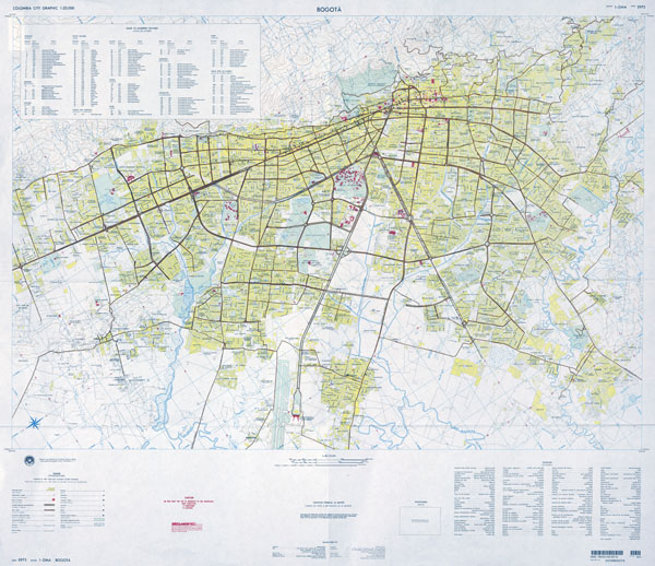 Large scale detailed roads map of Bogota city with all buildings.