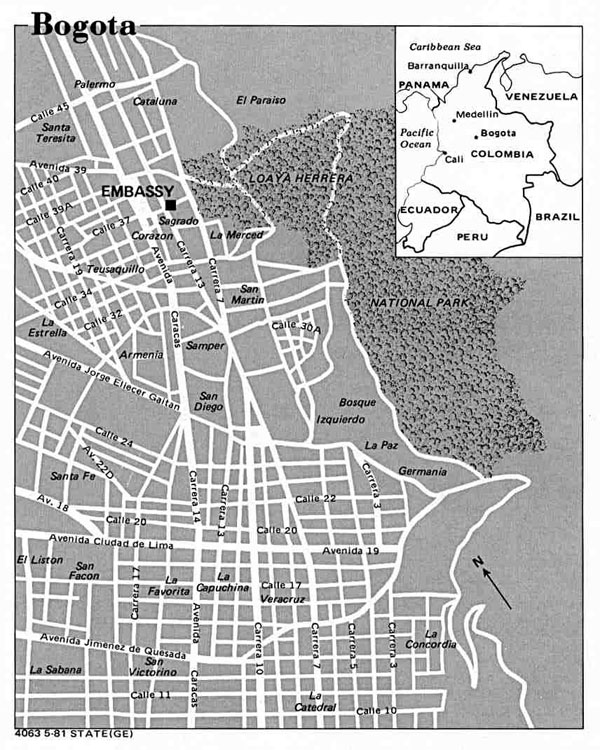Map of Bogota city - 1981. Bogota city map - 1981.