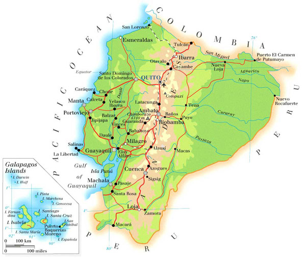 Detailed physical map of Ecuador with roads.