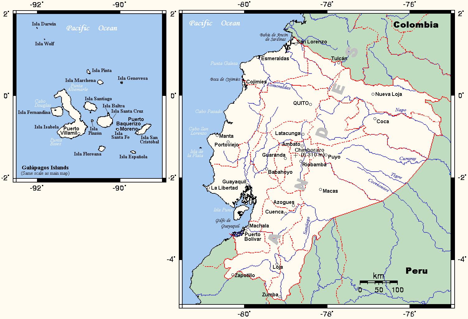 Detailed Political Map Of Ecuador Ecuador Detailed Political Map