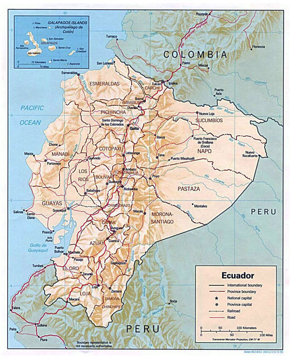 Large detailed political and administrative map of Ecuador with relief.