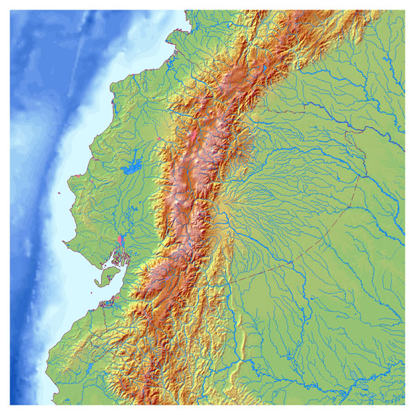 Large detailed relief map of Ecuador. Ecuador large detailed relief map.