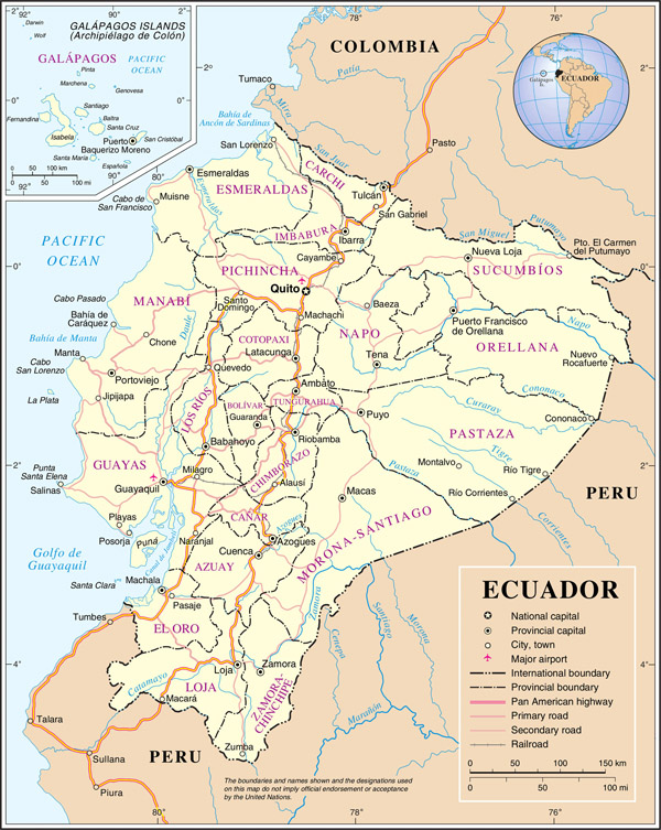 Large detailed road and administrative map of Ecuador.