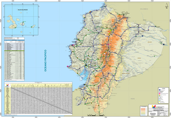 Large detailed road map of Ecuador. Ecuador large detailed road map.