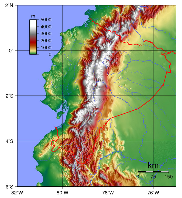 Large detailed topographical map of Ecuador. Ecuador large detailed topographical map.