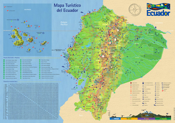Large detailed tourist map of Ecuador with roads.