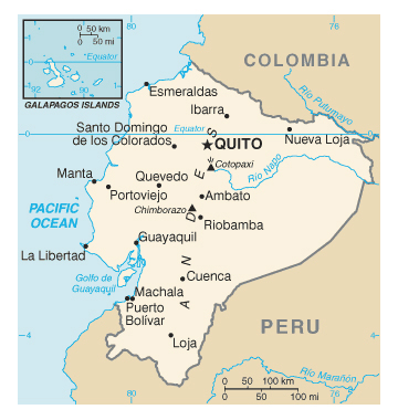 Map of Ecuador. Ecuador map.