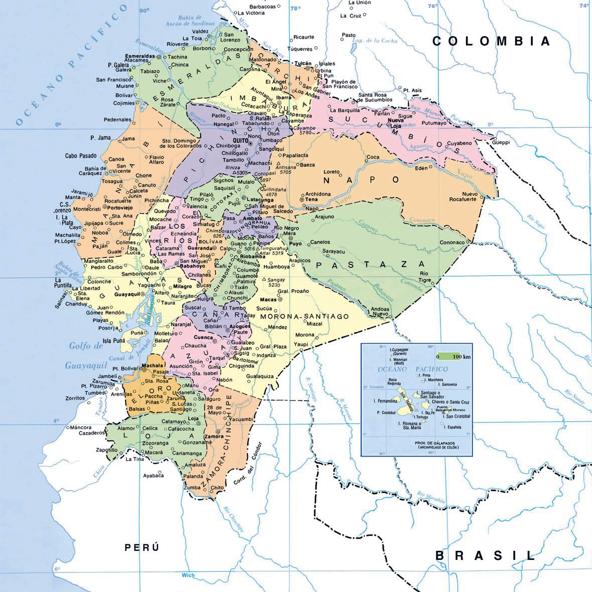 Map of Ecuador with cities Ecuador map with cities Vidianicom