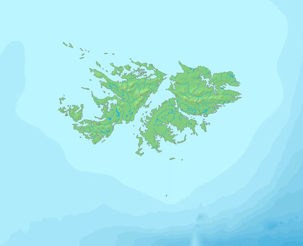 Falkland Islands large relief map. Large relief map of Falkland Islands.