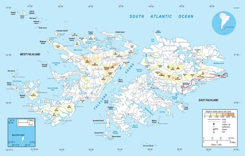 Full Political Map Of Falkland Islands Falkland Islands Full - Falkland islands map