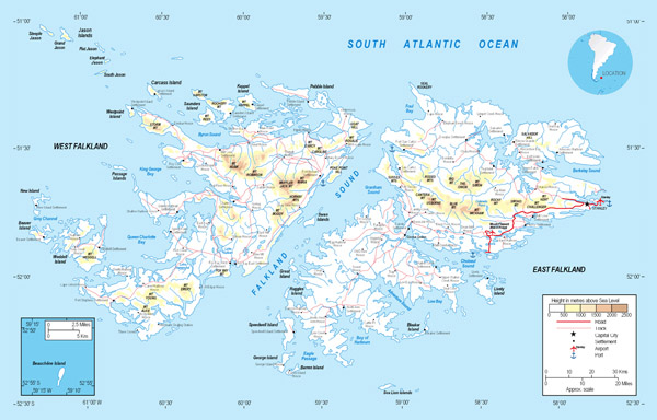 Full political map of Falkland Islands. Falkland Islands full political map.