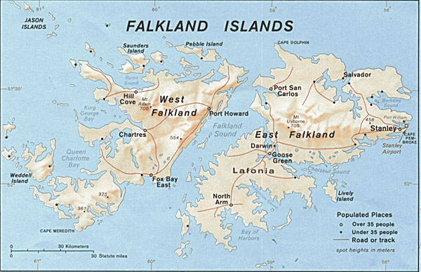 Large detailed administrative map of Falkland Islands.