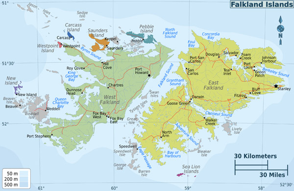 Large detailed administrative map of Falkland Islands with all cities.