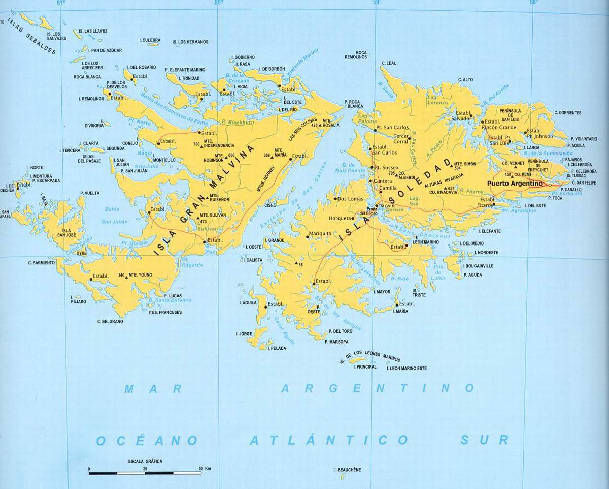 Large detailed map of Falkland islands with cities Falkland Islands