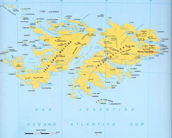 Large detailed map of Falkland islands with cities.