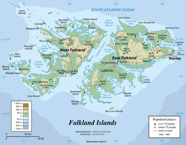 Large detailed physical map of Falkland Islands. Falkland Islands large detailed physical map.
