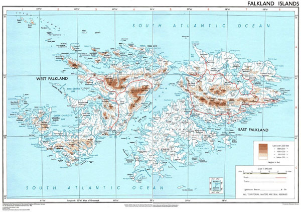 Large detailed physical map of Falkland Islands with cities and roads.