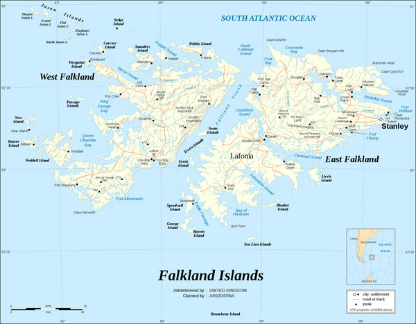 Large detailed relief and road map of Falkland Islands.
