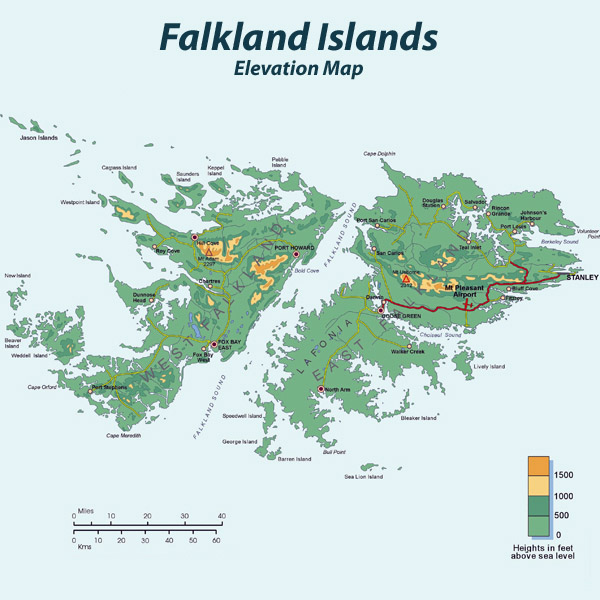 Large detailed road and elevation map of Falkland Islands.