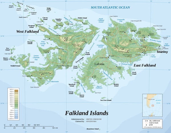 Large detailed topographical map of Falkland Islands.