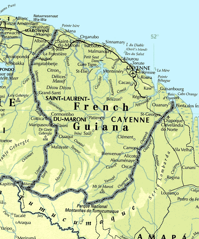 Detailed map of French Guiana with roads and cities.