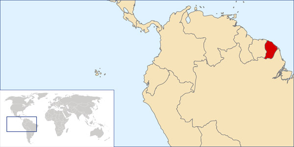 French Guiana location map. Map of French Guiana location.