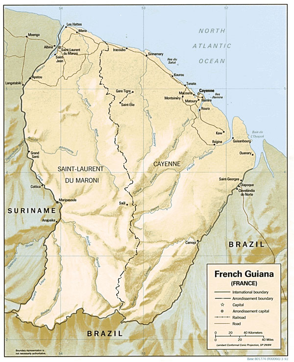 French Guiana detailed relief map with cities.