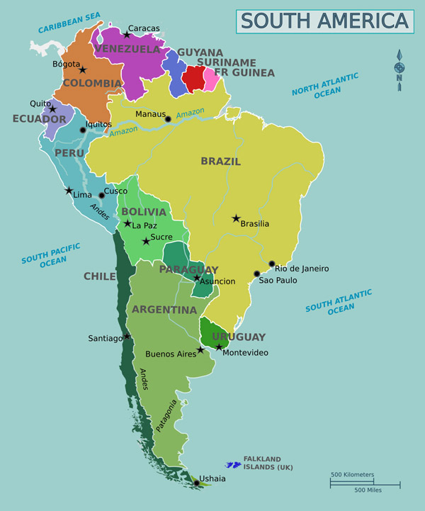 Full political map of South America. South America full political map.