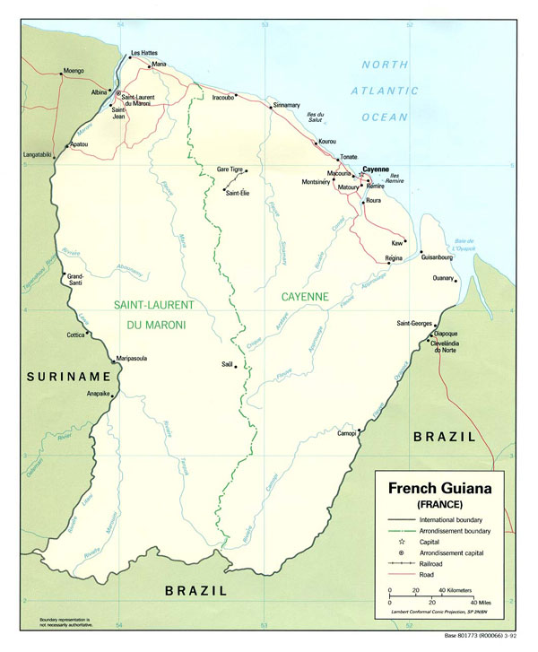 Large detailed political and administrative map of French Guiana with cities.