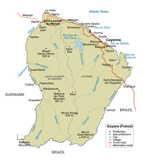 Large detailed political and road map of French Guiana.