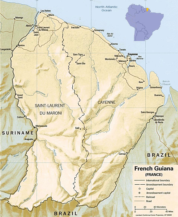 Large detailed relief and political map of French Guiana.