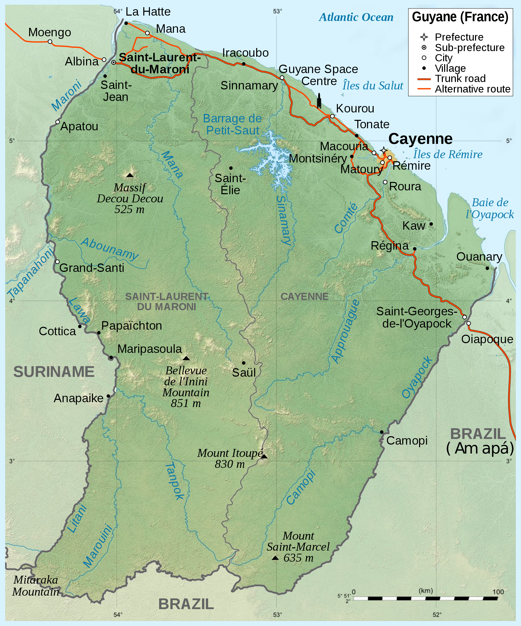 Large Detailed Topographical Map Of French Guiana French Guiana