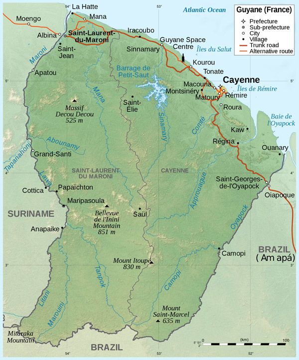 Large detailed topographical map of French Guiana.