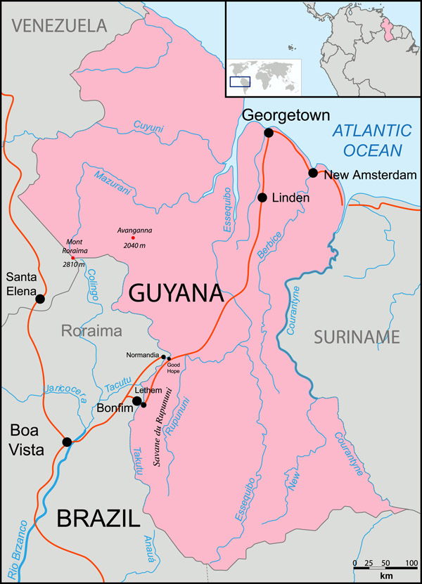 Guyana location map. Map of Guyana location.