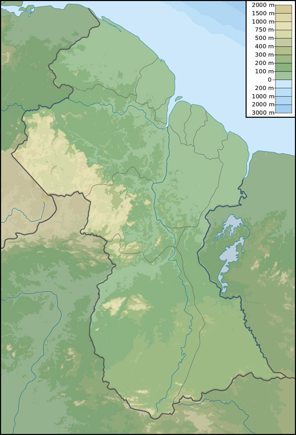 Large detailed physical map of Guyana. Guyana large detailed physical map.