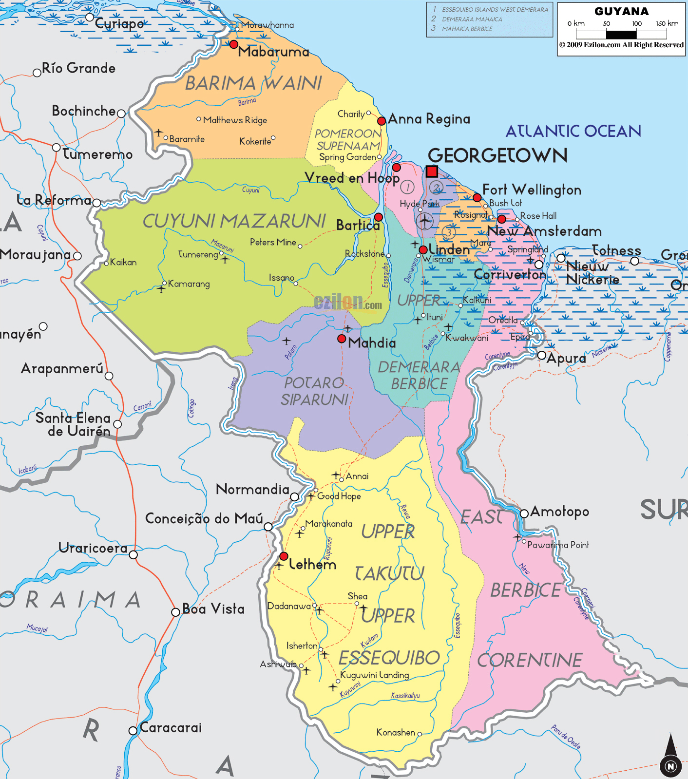 Large detailed political and administrative map of Guyana with