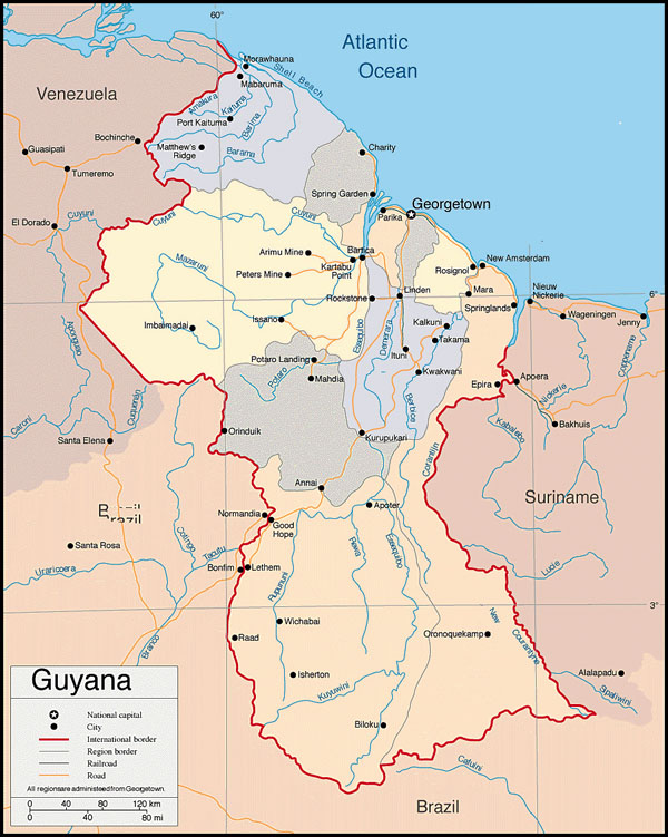 Large detailed political map of Guyana. Guyana large detailed political map.