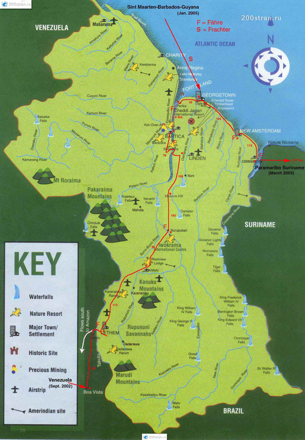 Large detailed tourist map of Guyana. Guyana large detailed tourist map.