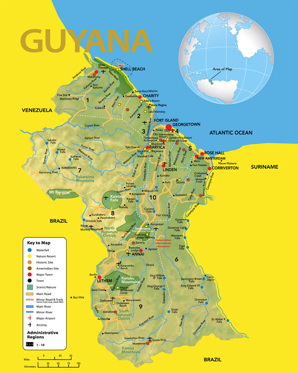 Large detailed travel map of Guyana. Guyana large detailed travel map.