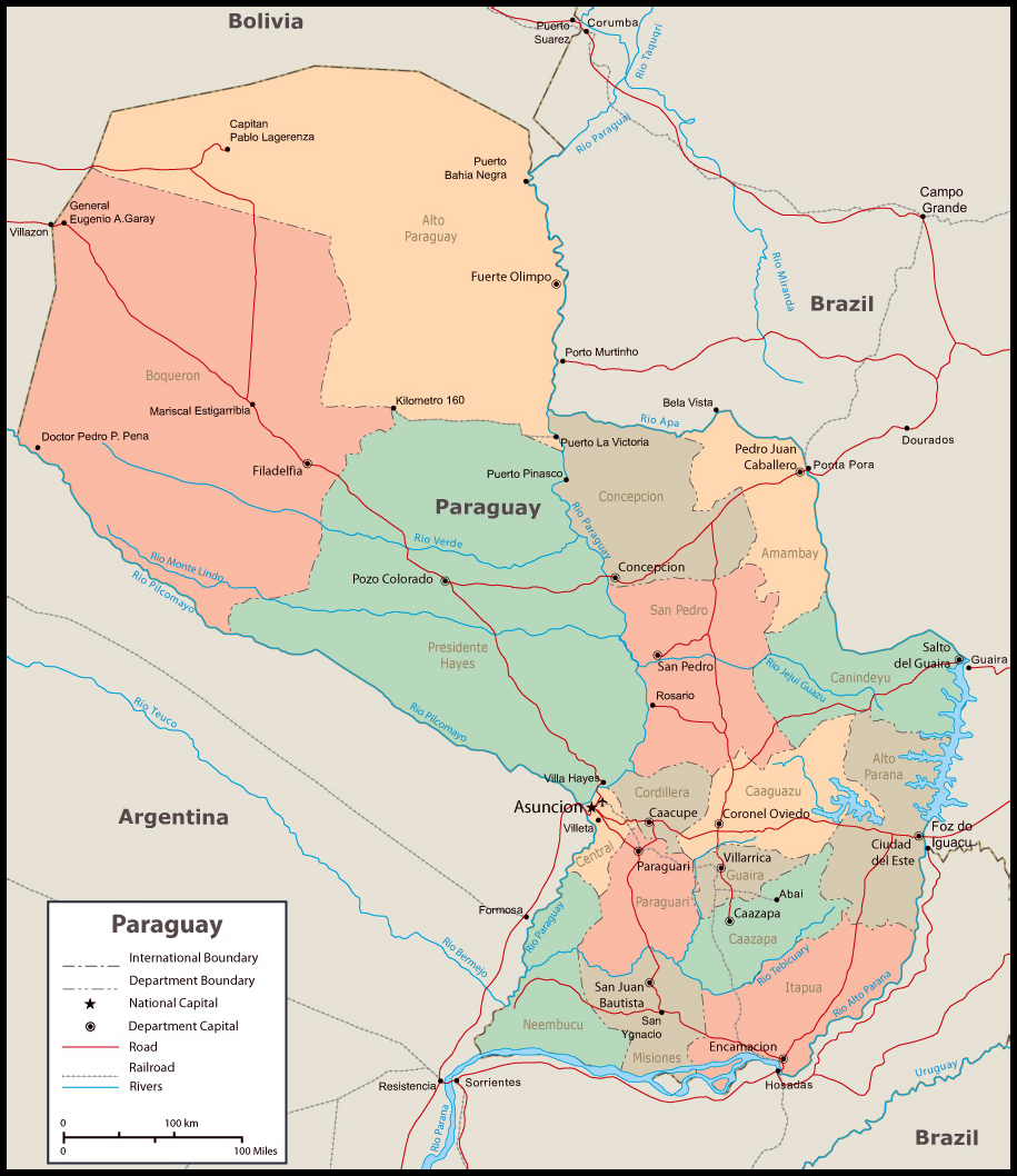 Detailed administrative map of Paraguay Paraguay detailed