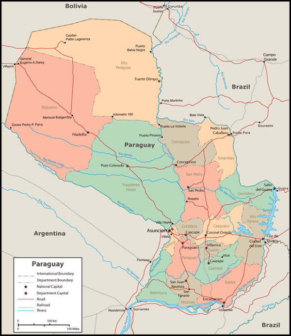 Detailed administrative map of Paraguay. Paraguay detailed administrative map.