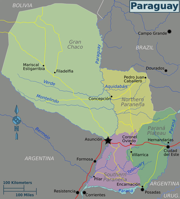Full political map of Paraguay. Paraguay full political map.