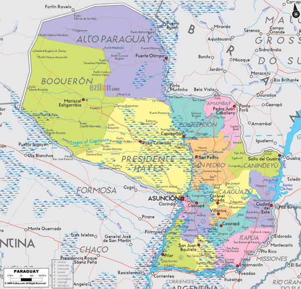 Large detailed administrative and political map of Paraguay with cities and airports.