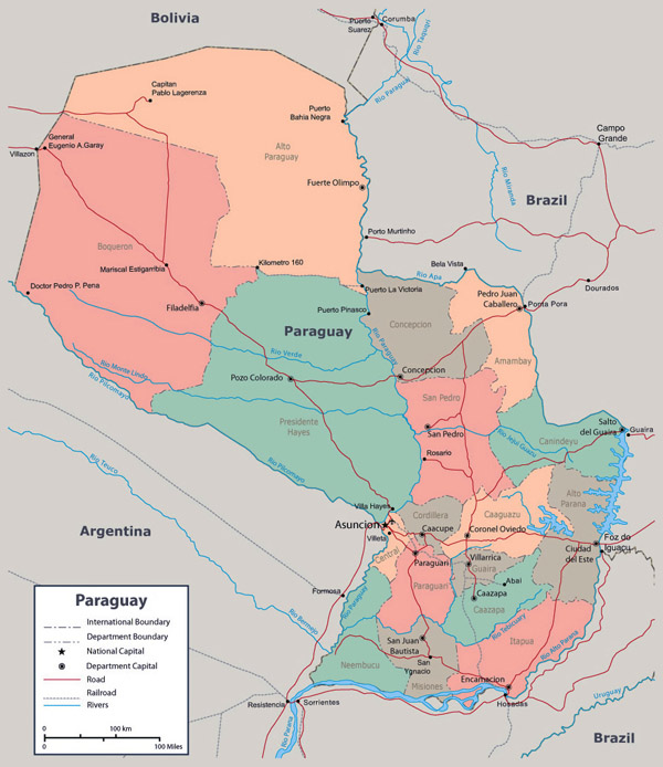 Large detailed administrative map of Paraguay with cities.