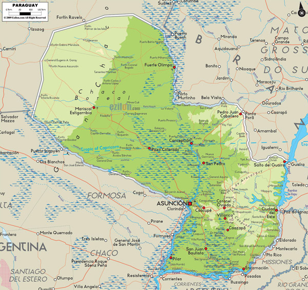 Large detailed physical map of Paraguay with cities.