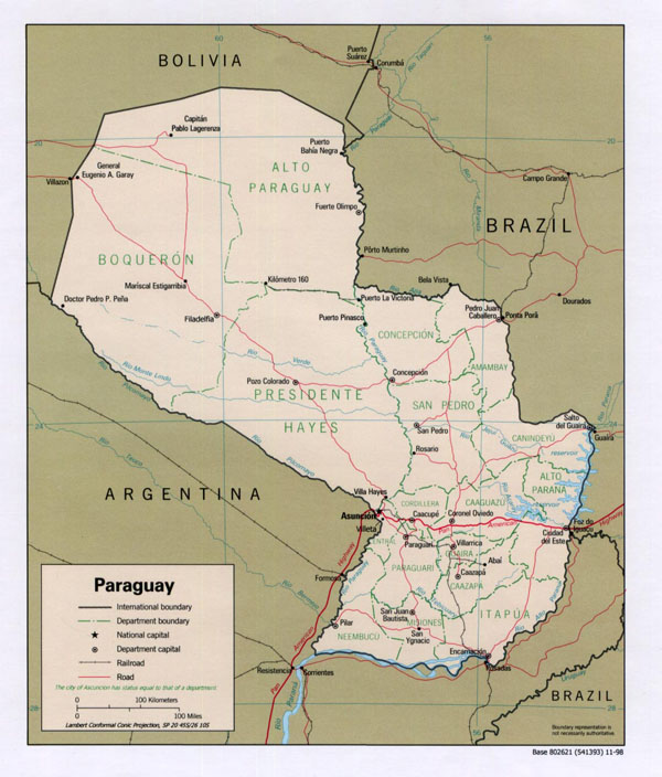 Large detailed political and administrative map of Paraguay.