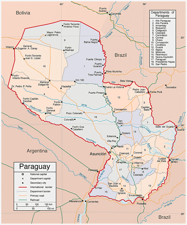 Large detailed political and regions map of Paraguay.