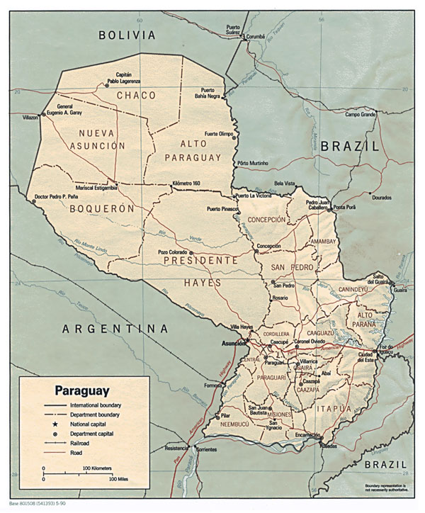Large detailed relief and regions map of Paraguay.