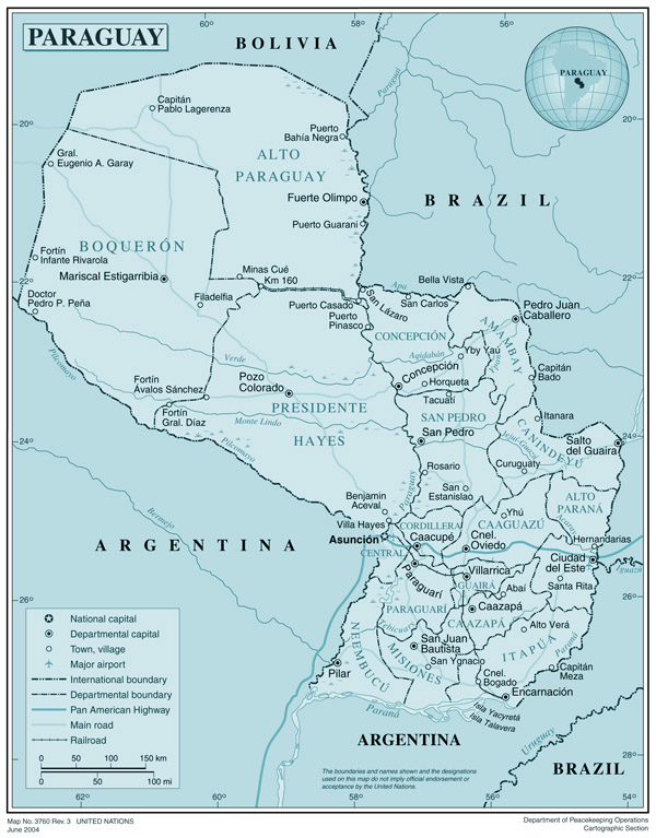 Large detailed road and political map of Paraguay.
